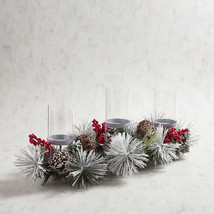NWT  PIER 1  FAUX FLORAL HOLIDAY WINTER 3 VOTIVE  CANDLE HOLDER - $55.69