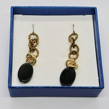DROP EARRINGS ALUMINUM LAMINATED YELLOW GOLD WITH ONYX BLACK OVAL image 3