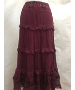 New Hale Bob XS Skirt Purple Silk Tiered Long Peasant Broomstick Beaded ... - $56.82