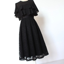 BLACK LACE A Line Midi Pleated Skirt Lady High Waisted Pleated Black Lace Skirt image 2