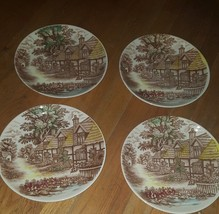 World wide quality English cottage brown Dinner & luncheon Plates set 10 - $26.72