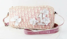 Auth CHRISTIAN DIOR Pink Trotter Canvas and Leather Flower Shoulder Bag ... - $279.00