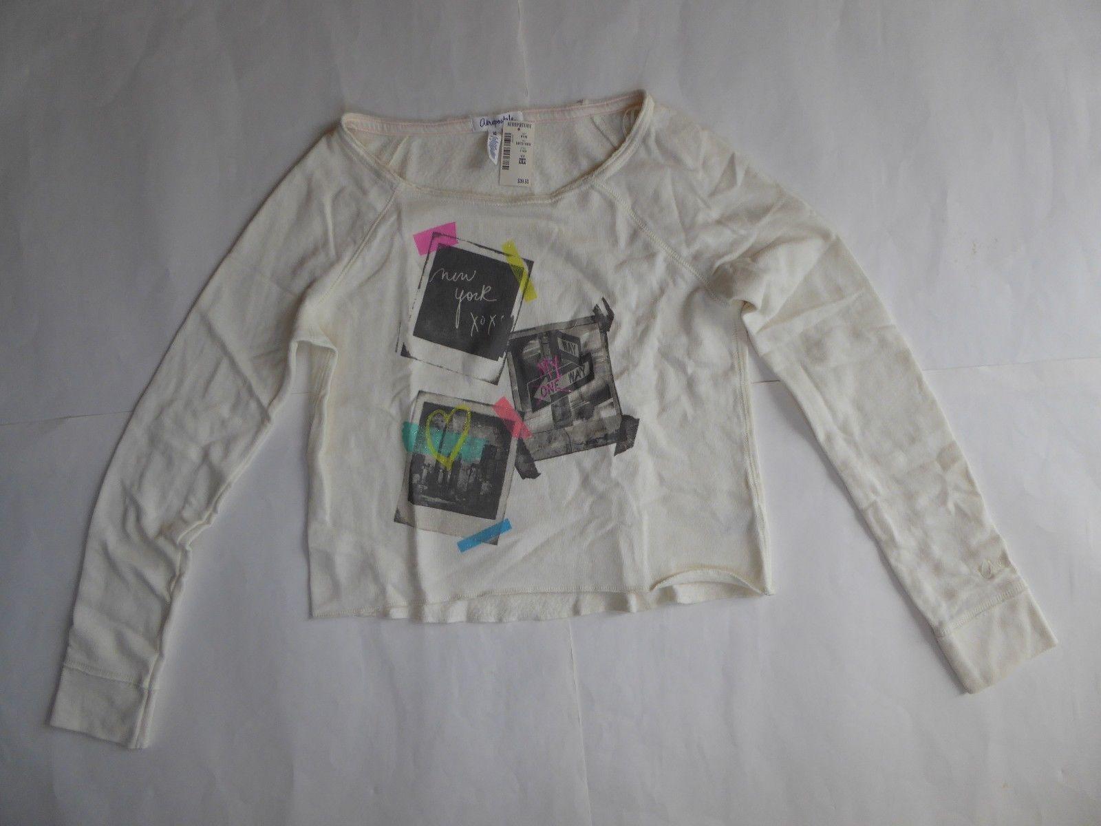 Aeropostale New York Crop Sweatshirt Size Medium Beige Graphic RP$39.50 Scoop