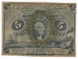 1863 FRACTIONAL CURRENCY 5 CENTS NOTE-2ND ISSUE-VERY NICE NOTE! SHIPS FREE! - $84.95