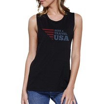 Seek & Travel USA Womens Black Sleeveless Tee Round Neck Cotton - $14.99
