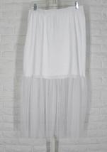 LUUKAA Ruby Skirt Elastic Waist Cotton Jersey Mesh Hem White NWT Sz 5 US 16 - $54.55