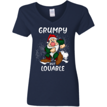 Grumpy Disney But Lovable G500VL Navy Ladies V-Neck TShirt - $25.00+