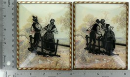 """Set of 2 Vintage 4"""" X 5"""" Convex Glass Silhouettes Kissing Couple at Fence 019"""