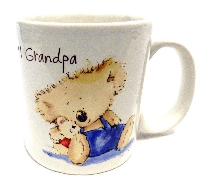 American Greetings Mug #1 Grandpa Grandfather Teddy Bear Cup Vintage - $14.52
