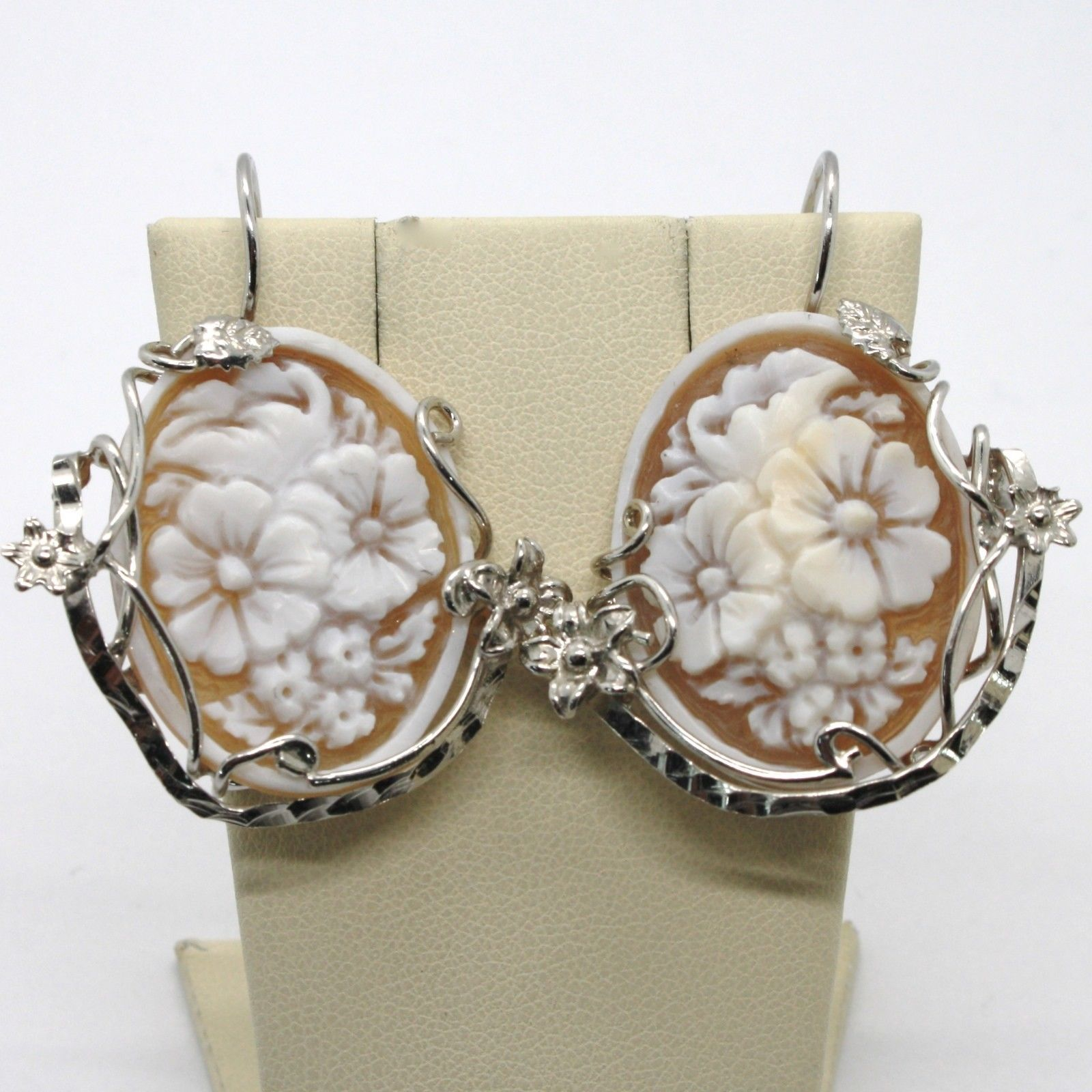 925 STERLING SILVER EARRINGS BIG OVAL FLOWER CAMEO FINELY HANDMADE IN ITALY