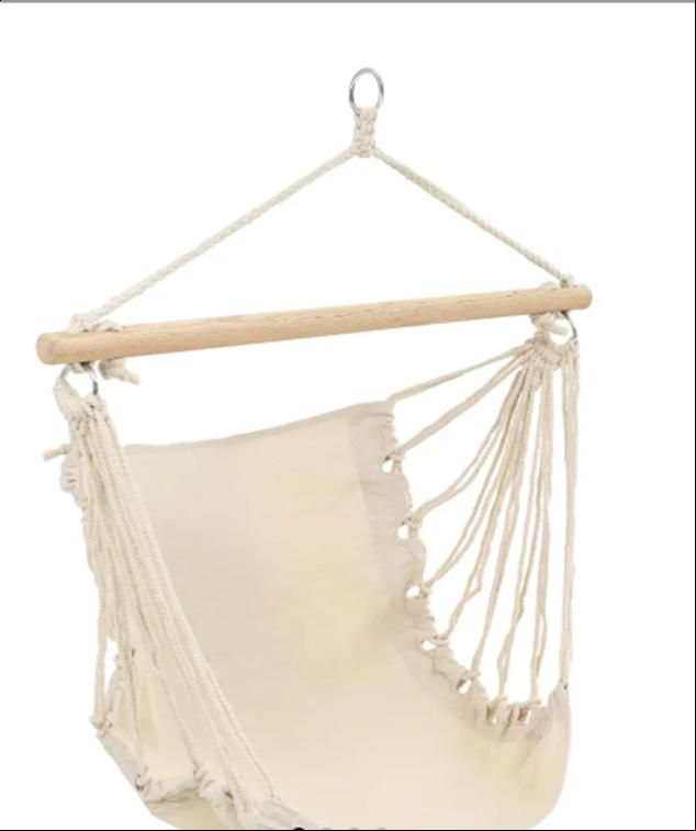 Strong Hammock Swing Seat Indoor/Outdoor Lounge Garden Balcony Fabric Cotton