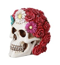 "Floral Red Rose Skull Eternal Love Skull Collectible Figurine 5""Love Tri... - $24.74"