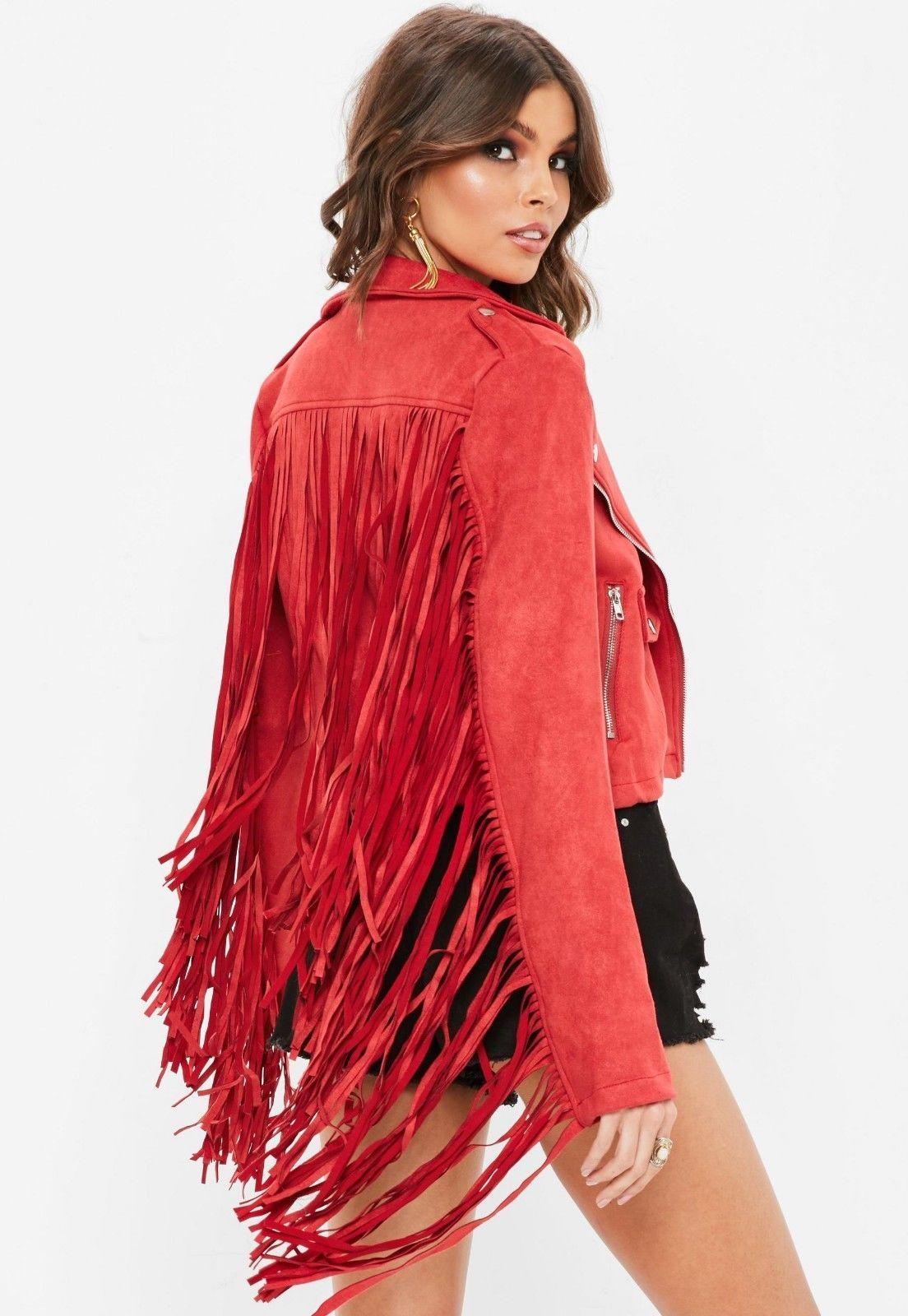 WOMEN'S NEW POPULAR RED WESTERN FRINGES SUEDE LEATHER BOHO HIPPY JACKET WJ125R
