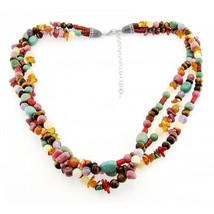 Southwestern Gemstone Necklace with Sterling Silver Made in USA - $97.12
