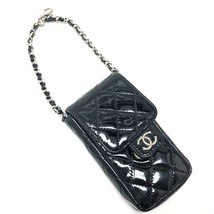 AUTHENTIC CHANEL CC Matelasse Chain Pouch Phone Case Black Patent Leather - $560.00
