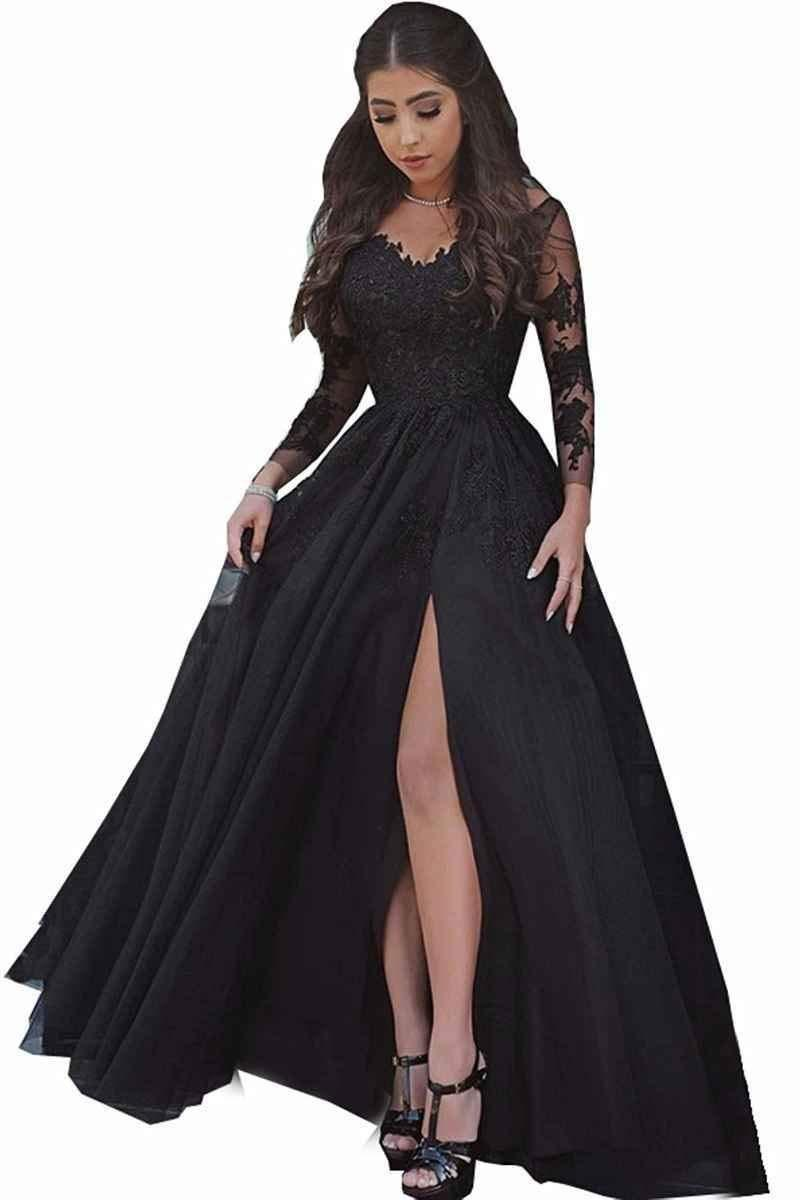Primary image for Women's V Neck Lace Appliques Prom Dresses Long Sleeves High Slit Evening Gowns