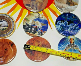 8 Vintage Stick Pin Back Buttons - Squirrel, Fox, Eagle, Harley Davidson Cycle image 2