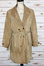 Wilsons Size Large Maxima Light Brown Suede Leather Button Down Belted J... - $37.99