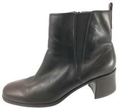 SH15 Clarks 10M Black Leather Ankle Chelsea Boots Zip Elastic - $28.70