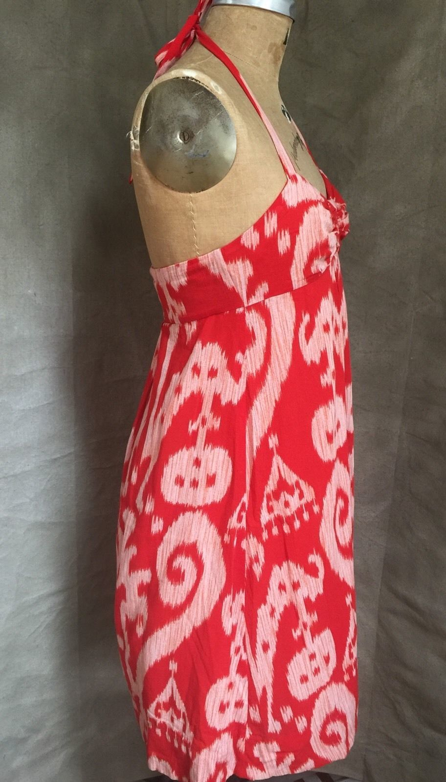 Anthropologie Summer IKAT HALTER DRESS 66170 MAEVE Womens 4 Red Cotton Lined