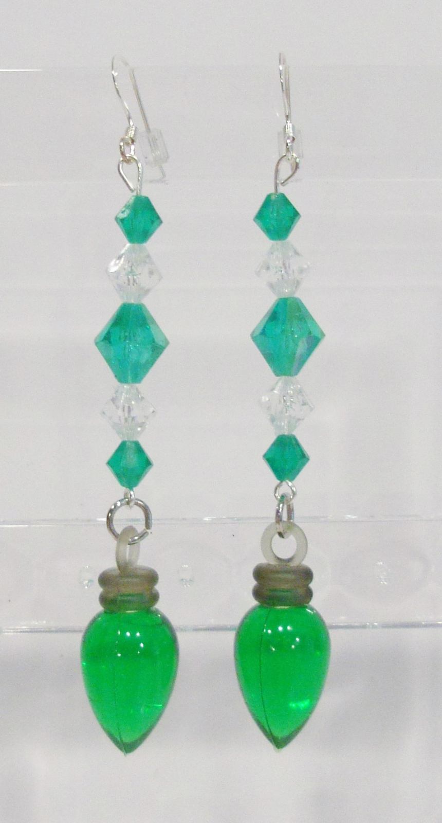 Primary image for handmade Christmas green light bulb drop earrings