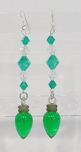 handmade Christmas green light bulb drop earrings - $9.00