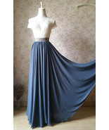 Women DUSTY BLUE Chiffon Maxi Skirt High Waist Maxi Chiffon Bridesmaid S... - $56.99