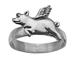 Sterling silver 925 In your Dream when pigs fly flying Ring Wing Pig jew... - $37.40