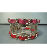 """Chanel Large Bracelet Tweed We Need Woven Pink Red Gold """"CC"""" Cuff Bangle... - $810.63"""