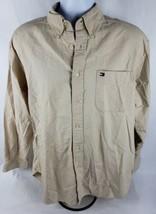 Tommy Hilfiger Mens Button Front Shirt Sz L Lg Tan Long Sleeve Cotton - $11.13