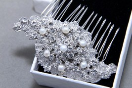 Freshwater Pearl Wedding Bridal Crystal Rhinestones  Hair Comb Headpiece - $18.69