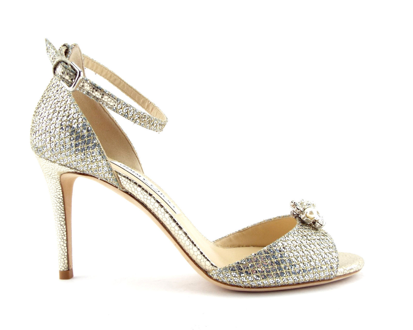 8d76e86978 New JIMMY CHOO Size 7.5 TORI D'ORSAY Gold Silver Lag Heel Pumps charms Shoes