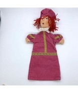Corduroy Peasant Person Puppet Pink with Hat Pretend Sculpted Face - $13.32
