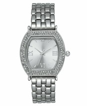 Charter Club Women's Silver-Tone Crystal Tonneau Case Bracelet Watch 28mm NEW