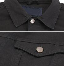 Boy's Kids Classic Button Up Removable Hood Slim Fit Stretch Denim Jean Jacket image 7