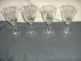 "4 Vintage Heisey Glass Crystal Heisey Rose 5 1/8"" Wine Goblets 5072 Optic NICE - $163.35"
