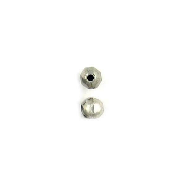 2pcs Faceted Round Fine Pewter Cast Bead - 6x6x6mm; 1.5mm Hole