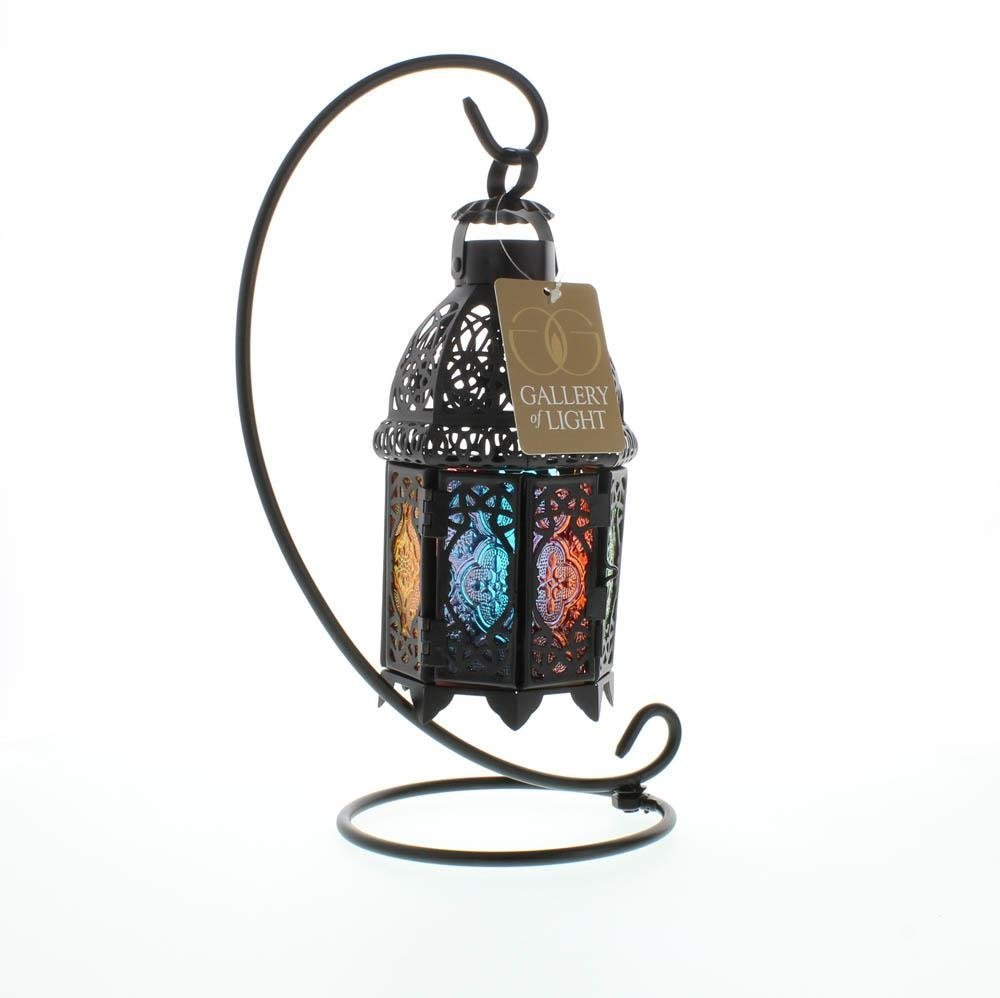 Standing Lantern, Rainbow Moroccan Glass Iron Outdoor Candle Lantern With Stand image 2