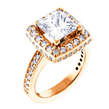 Halo Engagement Ring Setting for a Princess Cut Diamond, 0.86CT Sides in... - $2,842.00