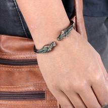 Dragon Bangle Bracelet Diamond 0.45Ct Tsavorite 14K Yellow Gold 925 SIlv... - $515.08