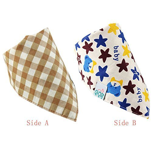 Stripe/Star Cotton Double Layer Saliva Towel Adjustable Baby Neckerchief 1611""