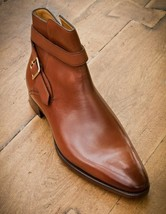 Handmade Men's Brown Leather High Ankle Monk Strap Boots image 3