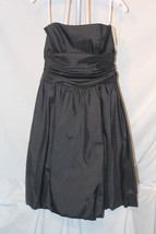 NWT Davids Bridal 81255 Bridesmaid Dress Black Taffeta Strapless Knee Le... - $25.99