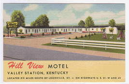 Hill View Motel Valley Station Kentucky postcard - $5.94
