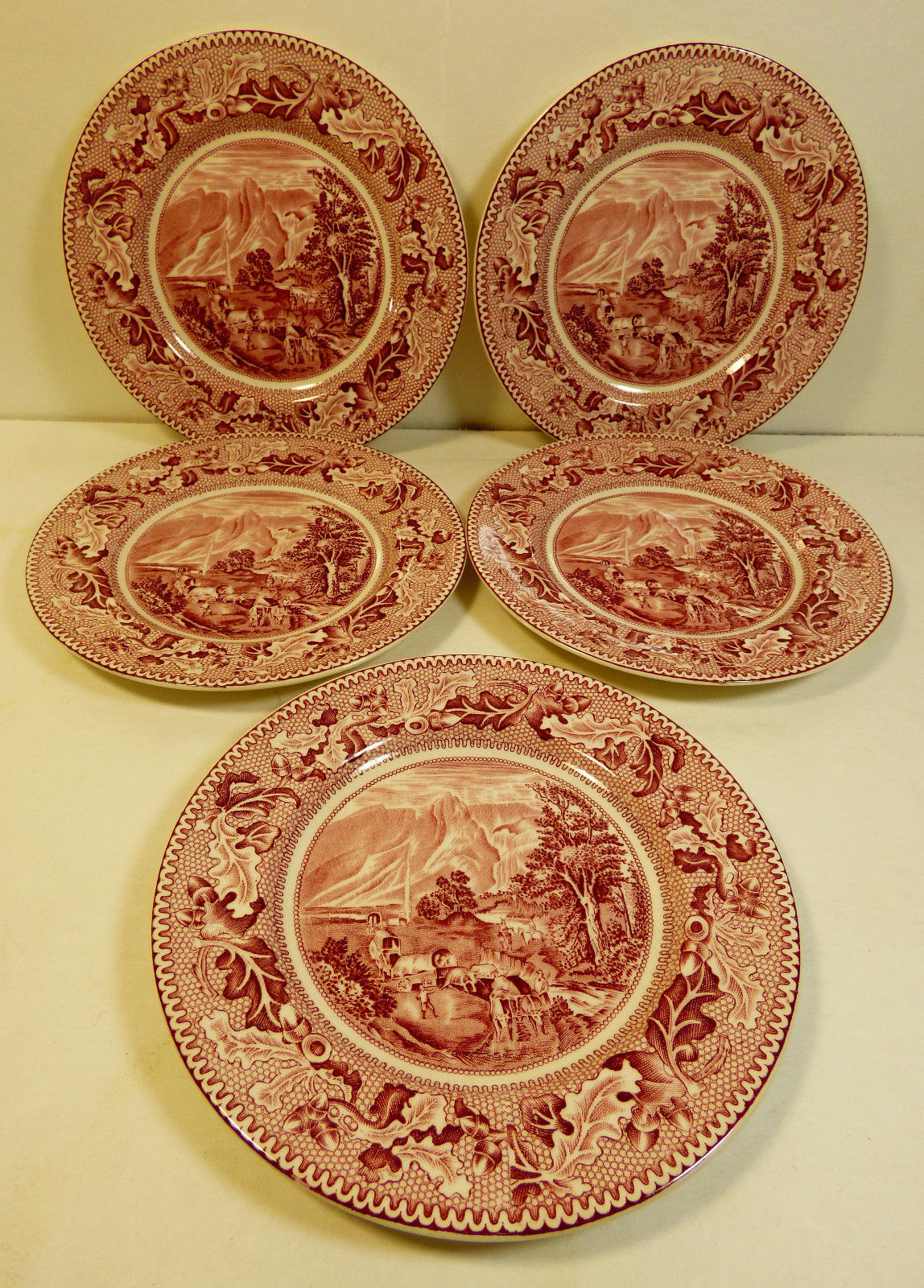 VTG set of 5 Johnson Bros England Historic AmericaCovered Wagon Butter Plate - $49.10