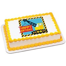 Under Construction Birthday Edible Cake Topper Image - $9.99+