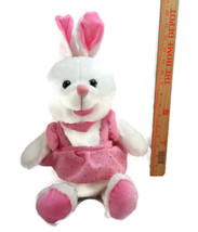 Easter White Bunny Rabbit With Pink Ears And Dress Plush Stuffed Animal ... - $10.39