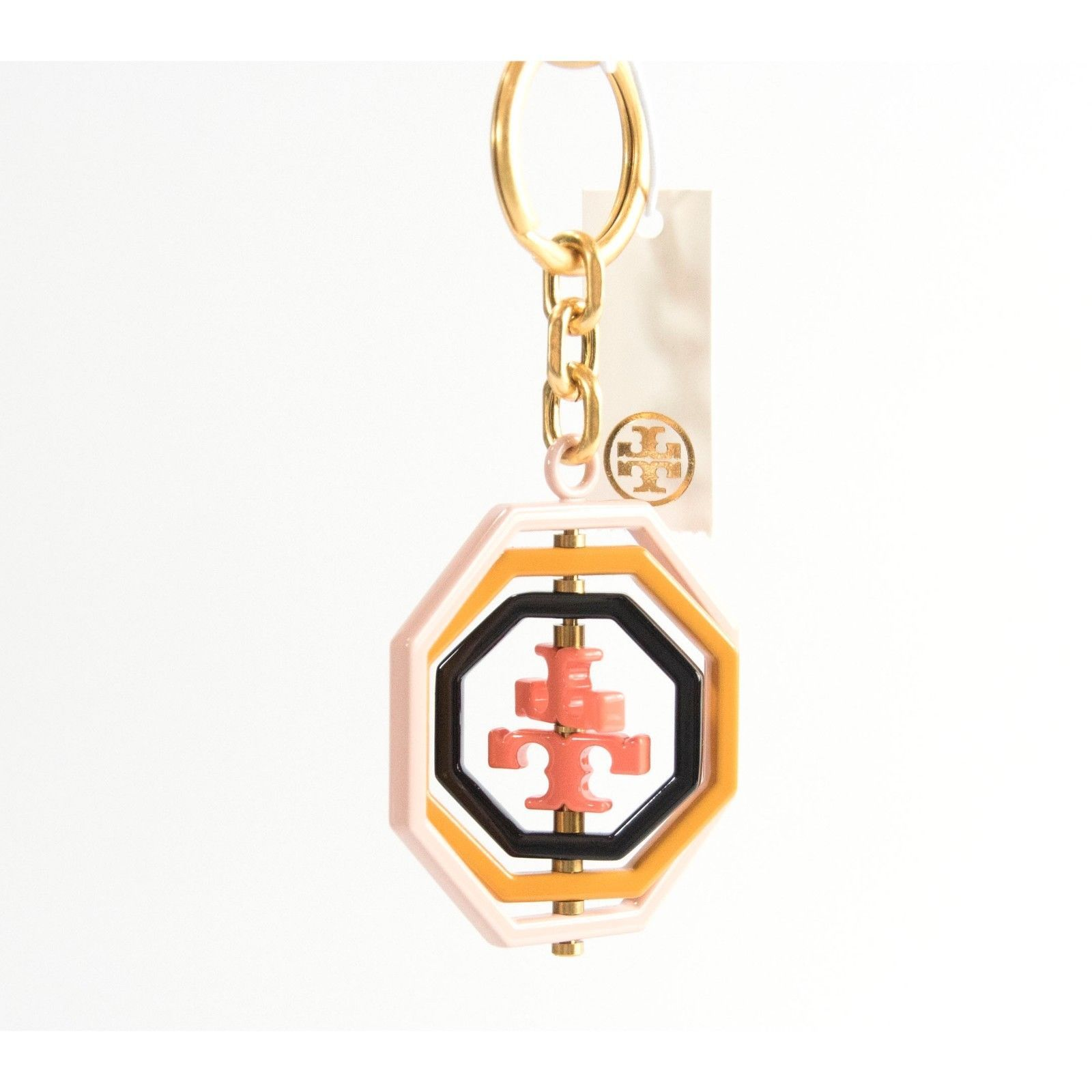 Tory Burch Octagon Acrylic Enamel Spinning Large Bag Charm Key Chain NWT image 3