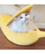 Pet Cat Puppy Nest Warm Bed Banana Shape Fluffy Cave House Sleeping Bag ... - $48.51