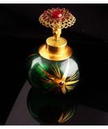 Vintage German Perfume Bottle / Garnet red stones - Green Holmspray bott... - $85.00